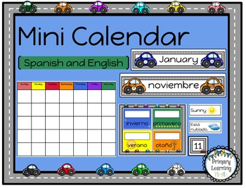 Spanish and English Calendar Pack - Car Theme