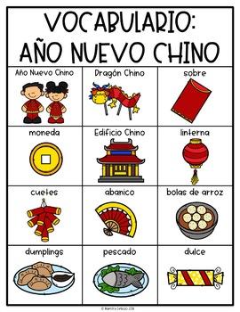 Spanish and English Chinese New Year Vocabulary