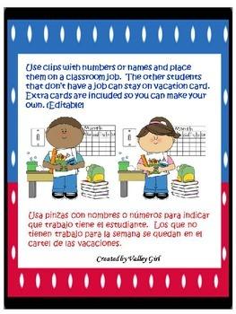 Classroom Jobs: Spanish & English with Editable template