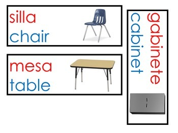 Spanish and English Classroom Lables