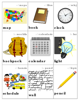 Spanish and English Classroom Object Vocabulary Picture Cards