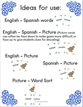 Spanish and English Cognates - An animal matching game