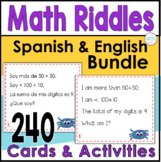Spanish and English First and Second Grade Math Bundle 240 Riddle Task Cards