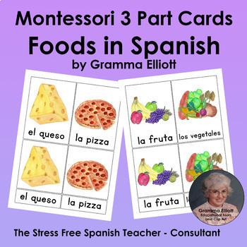 Spanish and English Food Three Part Card Bundle