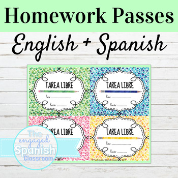 Spanish and English Homework Passes FREE // FREEBIE !!