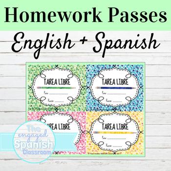 Spanish and English Homework Passes FREE // FREEBIE !!