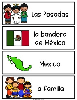 Spanish and English Las Posadas Vocabulary