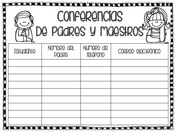 spanish and english parent conference sign in sheet by beaming
