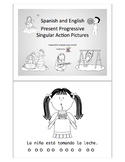 Spanish and English Present Progressive Singular Action Pictures