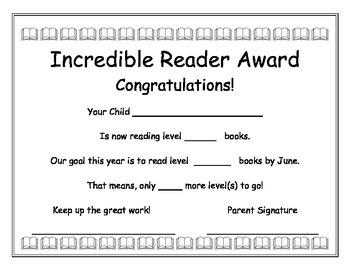 Spanish and English Reading Level Award