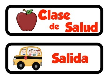Spanish and English Schedule Cards