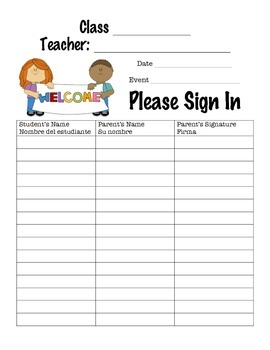 Spanish and English Sign-In Sheet