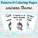 Spanish Classroom Posters and Coloring Pages Unicorn Theme