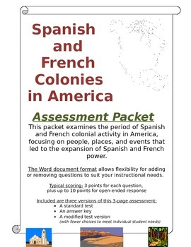 Spanish and French Colonies in America - Assessment Packet