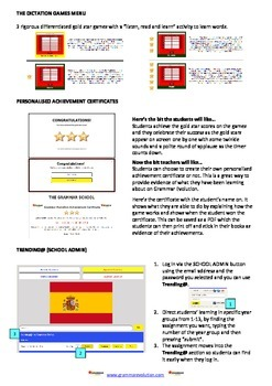 Interactive Online Games - Spanish French Grammar Dictation Practice
