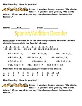 Spanish and Math Decoder Worksheet Packet