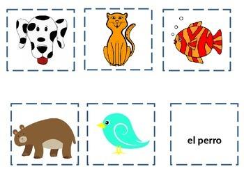 Spanish animal memory game animales vocabulary