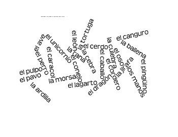 Spanish animal word splash game