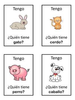 Spanish animals  Tengo ... ¿Quién tiene ...?