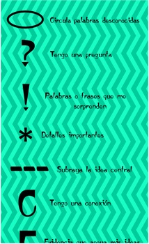 Spanish annotating bookmarks for close reading