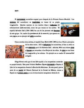 Spanish art & artists reading comp. practice worksheet - Realidades 3 Ch. 2