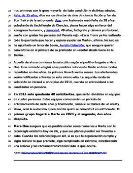 Spanish article - la vida en Marte with future tense oral assessment