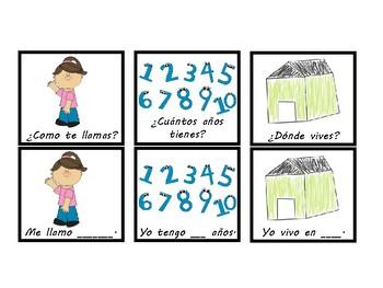 Spanish basic vocbulary cards
