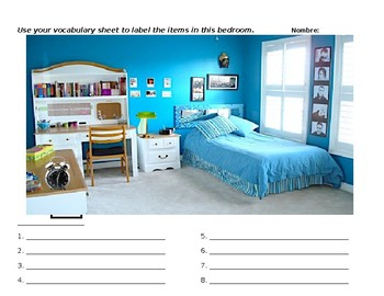 Spanish Bedroom Worksheets Teaching Resources Tpt