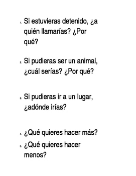 Spanish - beginning of the year engaging questions