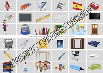 Spanish bingo / memory about classroom/school objects - Juego colegio / clase.