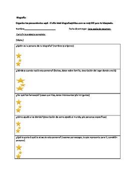 Spanish biography worksheet/organizer