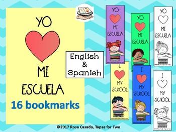 Spanish English bookmarks yo amo mi escuela