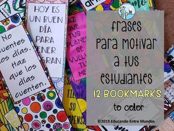 Spanish bookmarks - Motivational bookmarks - Coloring