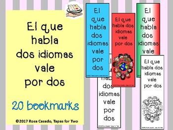 Spanish bookmarks el que habla dos idiomas