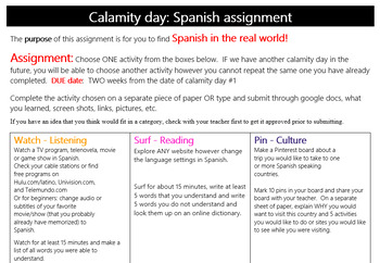 Spanish - calamity day assignment