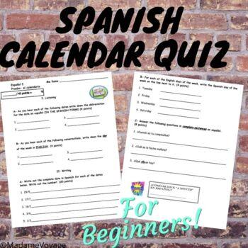 Calendar Days Of The Week In Spanish.Spanish Calendar Quiz Worksheets Teaching Resources Tpt