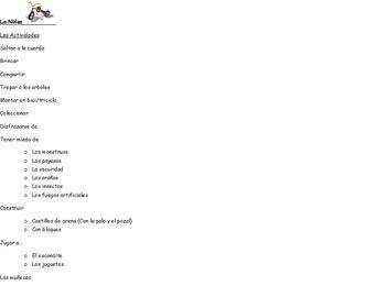 Spanish childhood vocabulary list