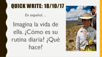 "Spanish class ""Quick Writes"" response template"