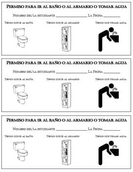 Spanish class bathroom passes