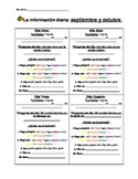 Spanish class warm-up sheet: Write the date, answer a question, guess the animal