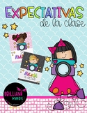 Spanish classroom expectations / Say cheese themed (creati