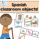"Spanish classroom objects - Flashcards, ""bug in a rug"" game, and domino cards!"