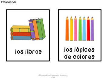 """Spanish classroom objects - Flashcards, """"bug in a rug"""" game, and domino cards!"""