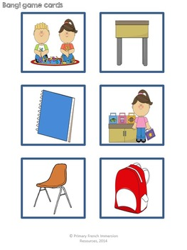 """Spanish classroom objects - Word wall cards, matching puzzles, and """"bang!"""" game"""