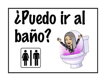 Spanish classroom phrases posters. spanish bitmoji posters