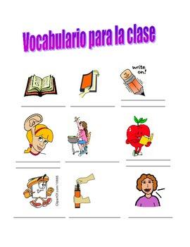 Spanish classroom phrases vocabulary sheet