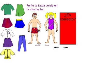 Interactive Whiteboard-Spanish clothing vocabulary