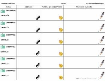 Spanish cognates - 32 reading task cards about animals - Los cognados