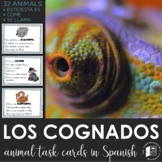 Spanish Cognates - 32 reading task cards about animals (DI