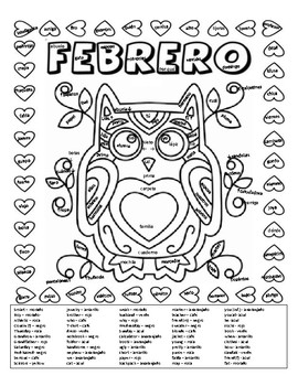 Spanish color by number style page with vocab. words for Febrero